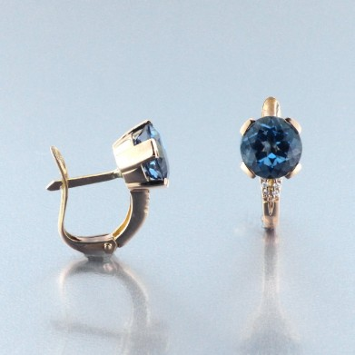 PENDIENTES ORO BRILLANTERS Y ZAFIROS LONDON BLUE