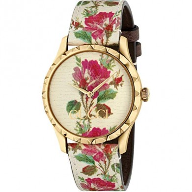 RELOJ GUCCI FLORES G- TIMELESS BEIGE-FLOWERS